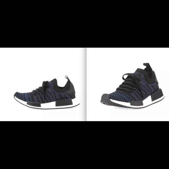3b12686ec01c9 Adidas NMD R1 Primeknit Sneakers Black Blue 7 NIB